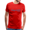 Man wearing Vintage Hayward Lake Summer Bright Blue Premium T-shirt Red