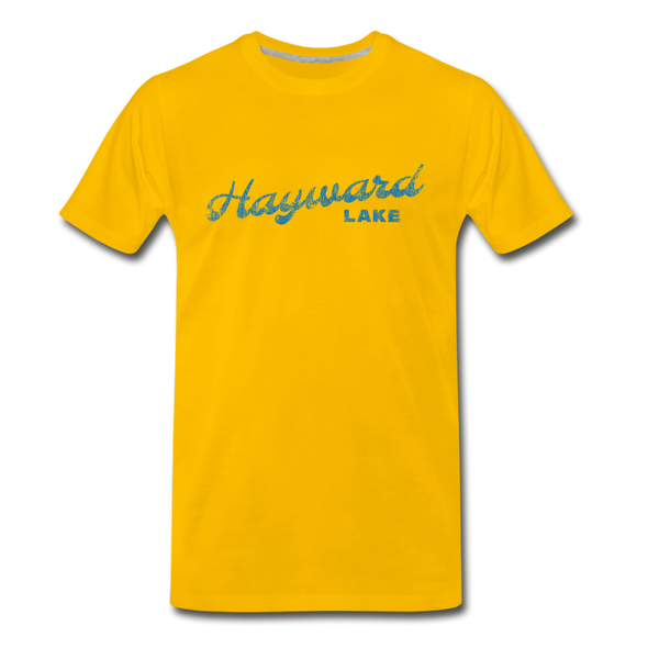 Vintage Hayward Lake Summer Bright Blue Premium T-Shirt - sun yellow