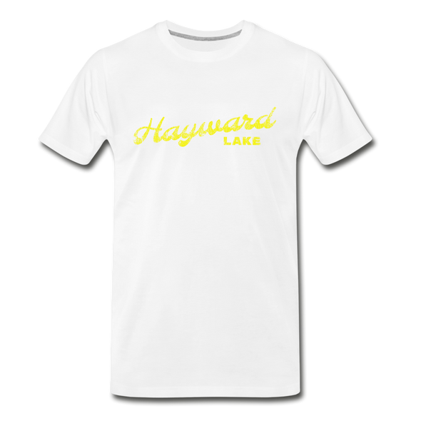 Vintage Hayward Lake Summer Bright Yellow Premium T-Shirt - white