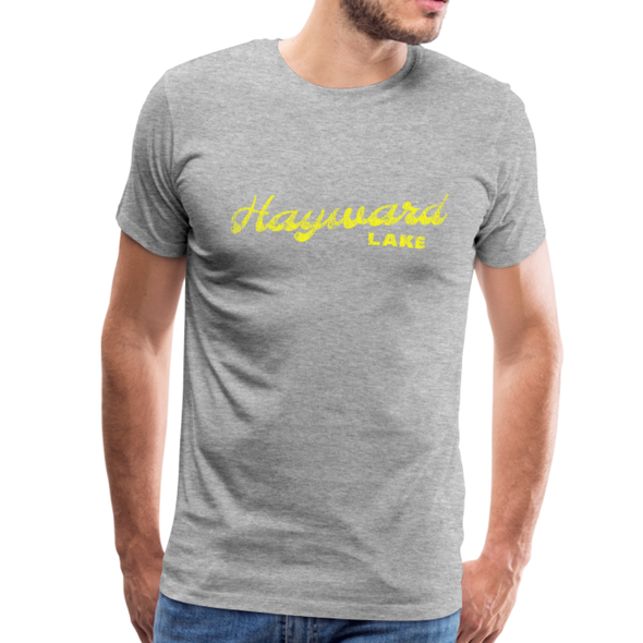 Man wearing Vintage Hayward Lake Summer Bright Yellow Premium T-Shirt Heather Gray
