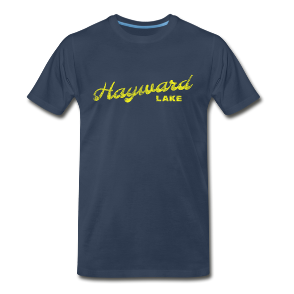 Vintage Hayward Lake Summer Bright Yellow Premium T-Shirt - navy