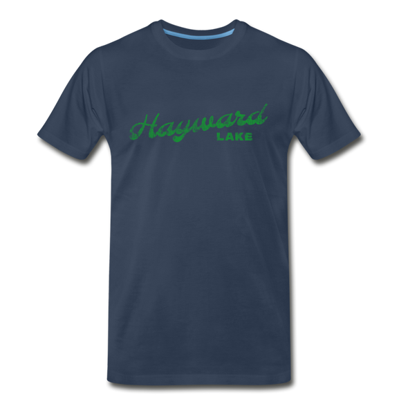 Vintage Hayward Lake Summer Bright Green Premium T-Shirt - navy