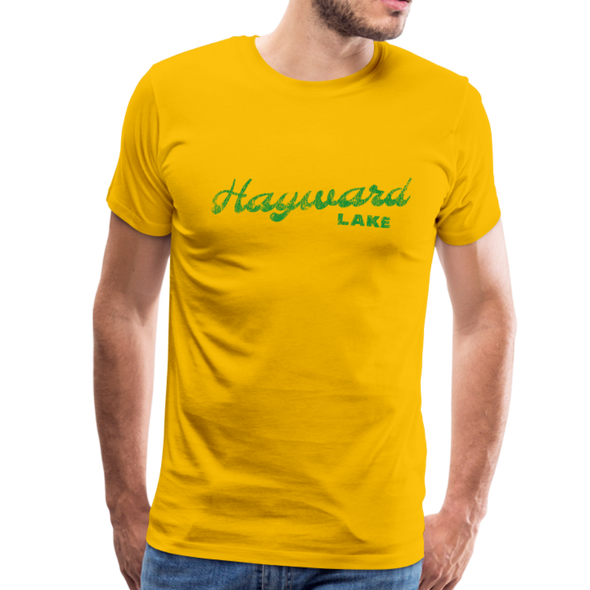 Man wearing Vintage Hayward Lake Summer Bright Green Premium T-Shirt Yellow