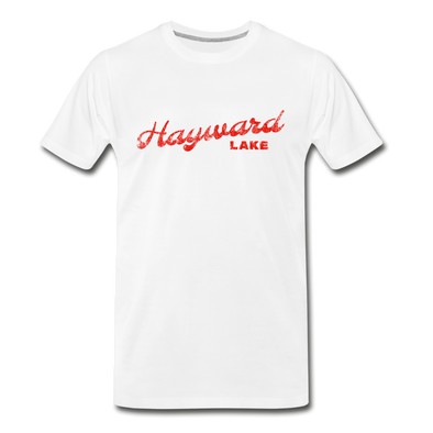 Vintage Hayward Lake Summer Bright Red Premium T-Shirt - white