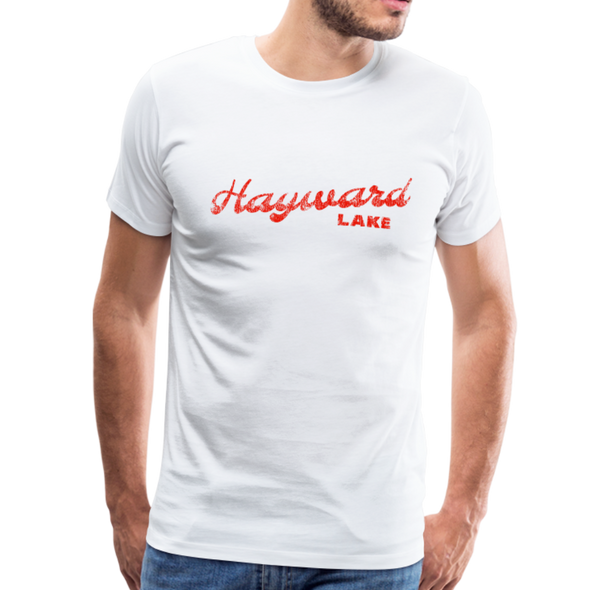 Man wearing Vintage Hayward Lake Summer Bright Red Premium T-Shirt White