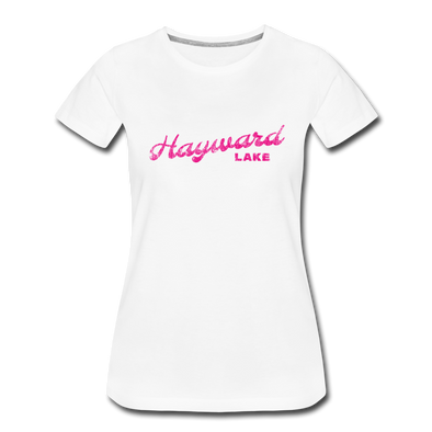 Vintage Hayward Lake Summer Bright Fuchsia Women's Premium T-Shirt - white