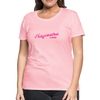 Woman wearing Vintage Hayward Lake Summer Bright Fuchsia Premium Woman's T-Shirt Pink