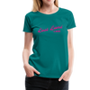 Woman wearing Vintage Lost Land Lake Summer Bright Fuchsia Woman's Premium T-Shirt Teal