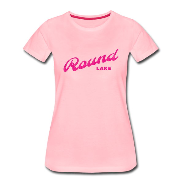 Vintage Round Lake Summer Bright Fuchsia Women's Premium T-Shirt - pink