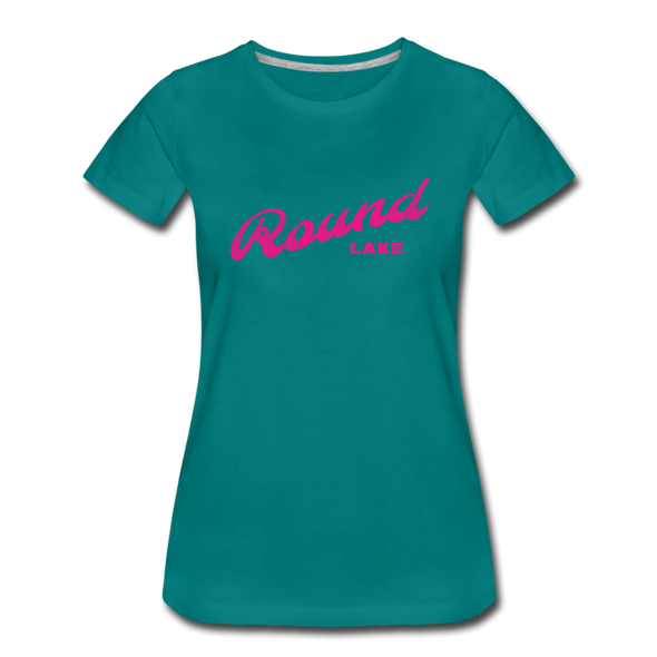 Vintage Round Lake Summer Bright Fuchsia Women's Premium T-Shirt - teal