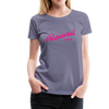 Woman wearing Vintage Round Lake Summer Bright Fuchsia Women's Premium T-Shirt