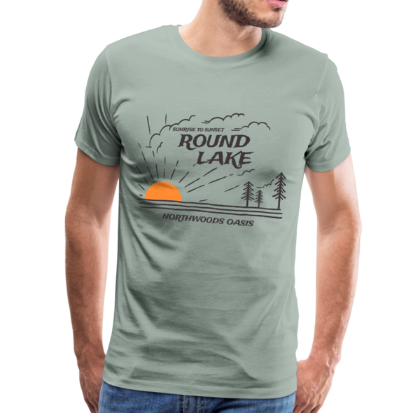 Man wearing Round Lake Northwoods Oasis Premium T-Shirt