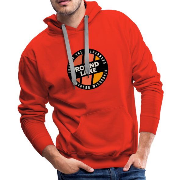 Man wearing Round Lake Edge of Wilderness Premium Sweatshirt Hoodie Red