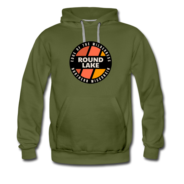 Round Lake Edge of Wilderness Premium Hoodie - olive green