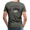 Man wearing Camp Round Lake Wisconsin Premium T-shirt Olive Green