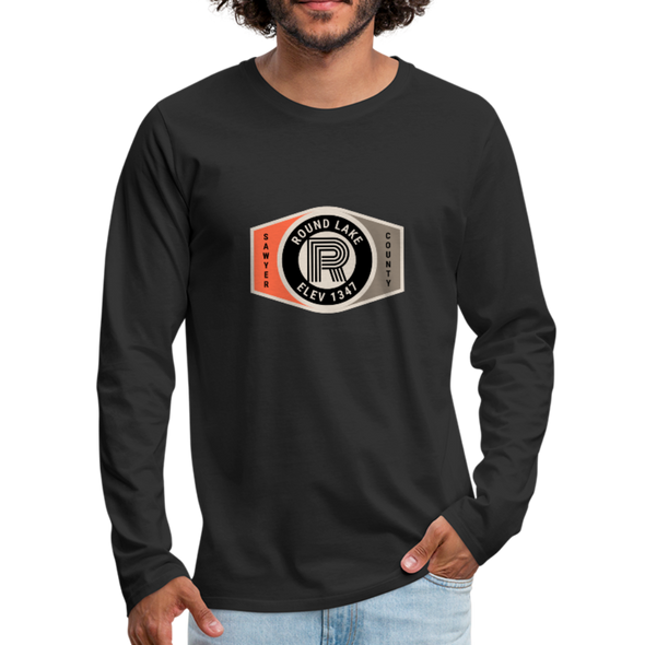 Man wearing Round Lake Elevation 1347 Premium Long Sleeve T-Shirt Black