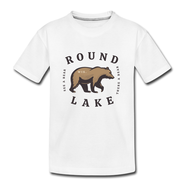 Round Lake See A Bear Kids' Premium T-Shirt - white
