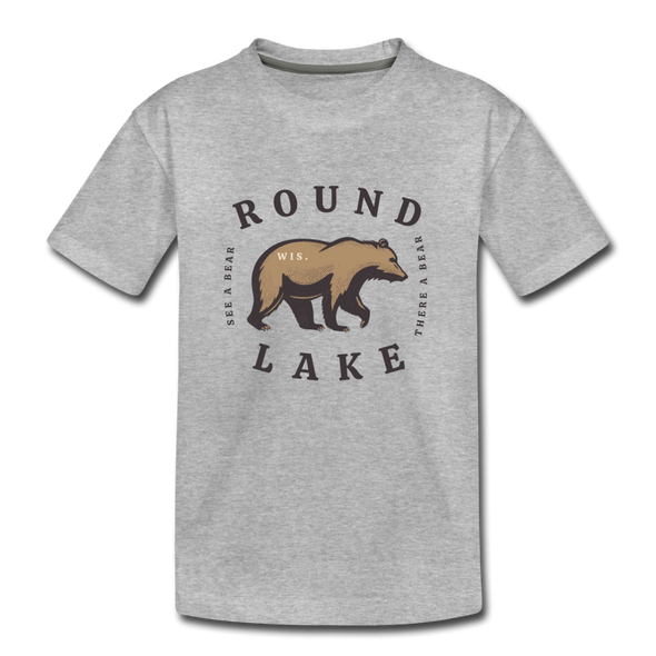 Round Lake See A Bear Kids' Premium T-Shirt - heather gray