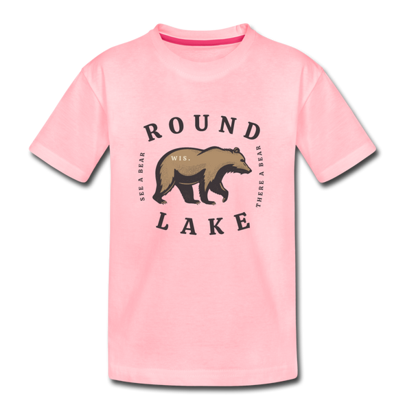 Round Lake See A Bear Kids' Premium T-Shirt - pink