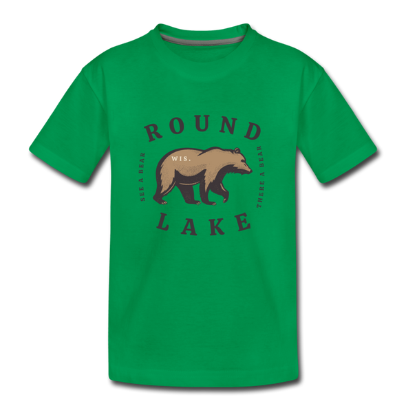 Round Lake See A Bear Kids' Premium T-Shirt - kelly green
