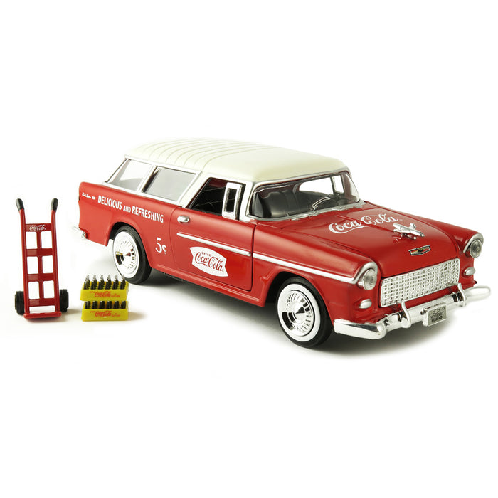 1955 Chevy Nomad with Metal Handcart and 2 Bottle Cases