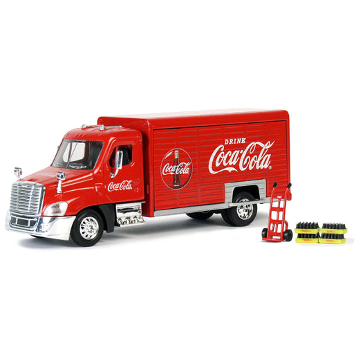 Beverage Delivery Truck With 2 Sliding Doors, Handcart and 4 Bottle Cases