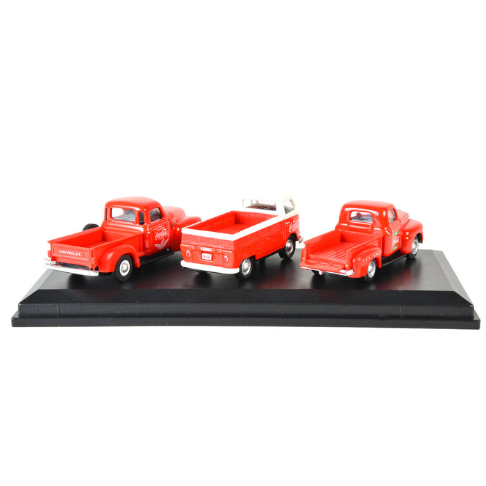 Coca-Cola Classic Pickups Set (1948 Ford F1 Pickup, 1962 Volkswagen T1 Pickup, 1953 Chevrolet 3100 Pickup)