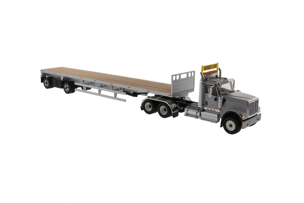 1:50 International HX520 Tandem Tractor with 53' Flat Bed Trailer   - Light grey truck + Silver trailer