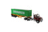 1:50 Western Star 4700 SB Tandem Truck-Tractor with 40' Dry good Sea Container  - Metallic red tractor + Yellow trailer + EverGreen container