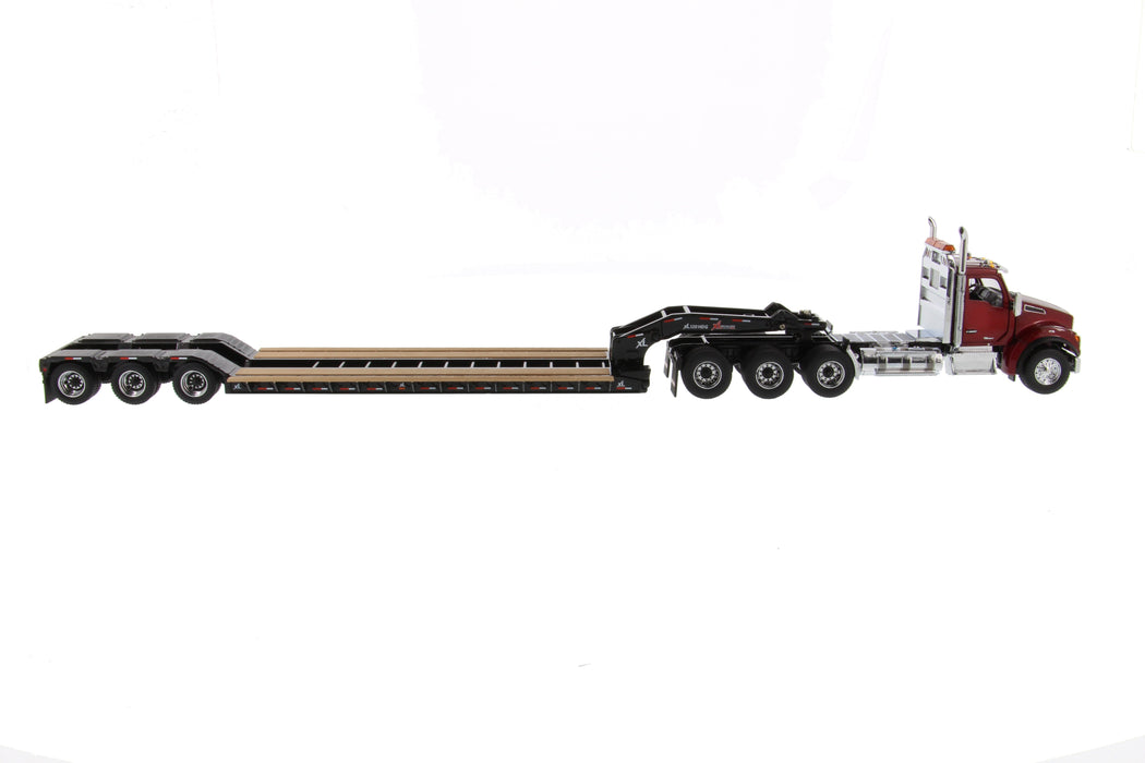 1:50 Kenworth T880 SFFA DayCab Tridem Tractor with XL 120 Low-Profile HDG Trailer (Outrigger Style) with 2 Boosters and Jeep   - Radiant red cab, Black trailer + Jeep + Boosters