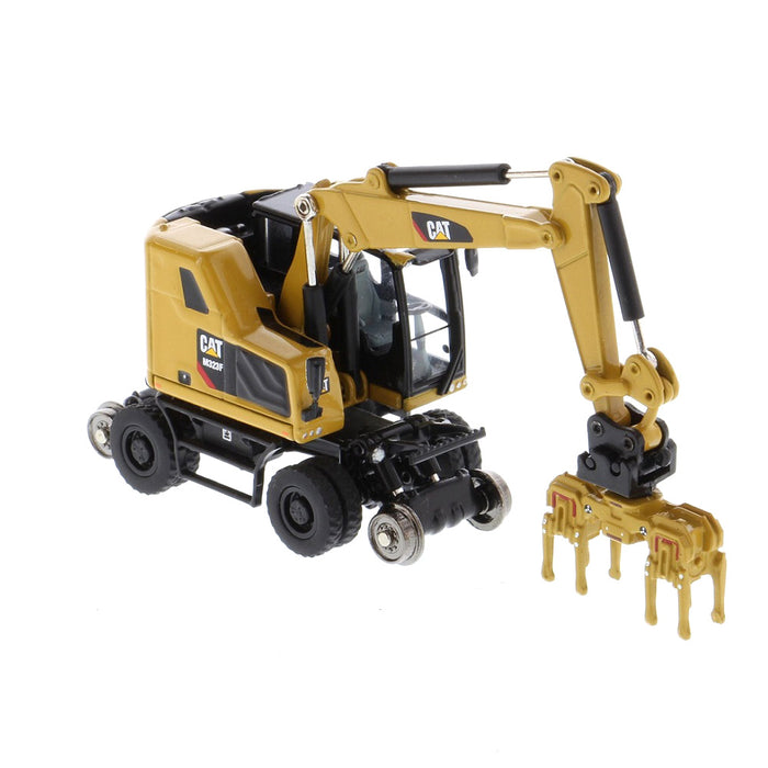 1:87 Cat® M323F Railroad Wheeled Excavator, Cat® Yellow with 3 work tools