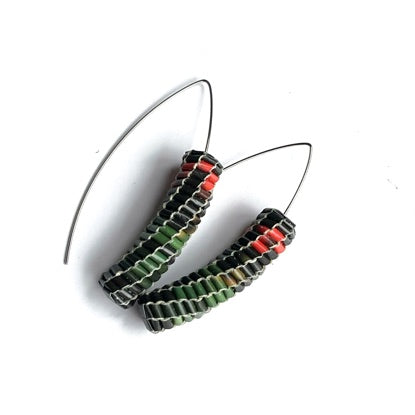 Vmag Elongated Drop Green, Black and Red