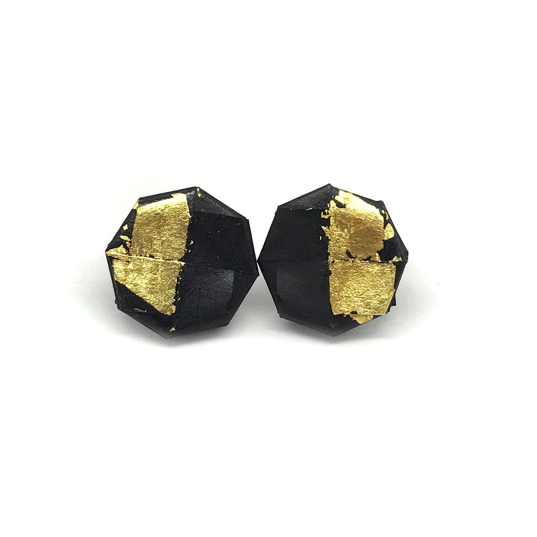 Bolla Earrings in Black and Gold Leaf