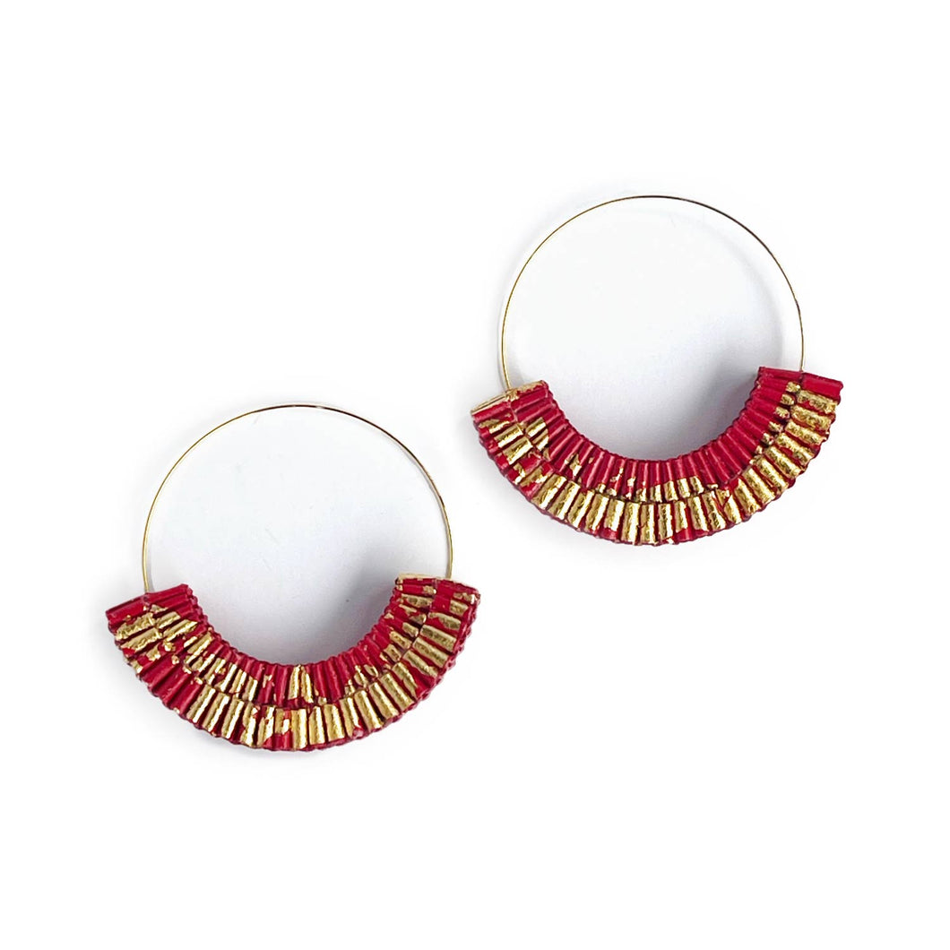 Andy Hoops Red and Gold Leaf