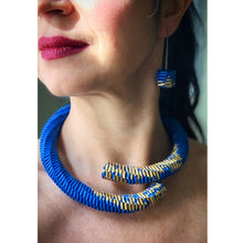 Load image into Gallery viewer, Ceresa Earrings in Blue and Gold Leaf