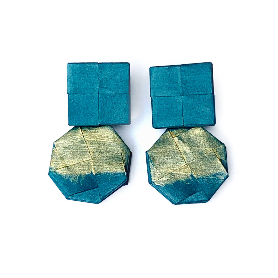 Gold Paint and Teal Stud Dangling Earrings
