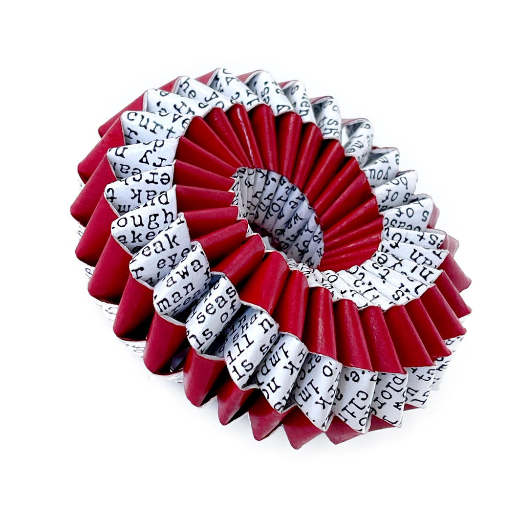 Nel Brooch Spiral Red and Book Pages