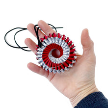 Load image into Gallery viewer, Nel Brooch Spiral Red and Book Pages