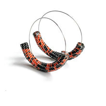 Load image into Gallery viewer, Vmag XL Hoops Black and Coral