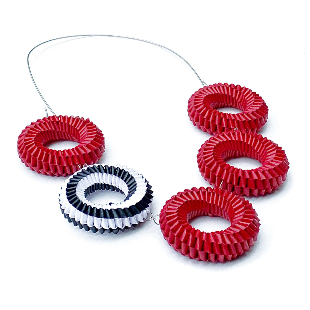 Red Five Circles Necklace