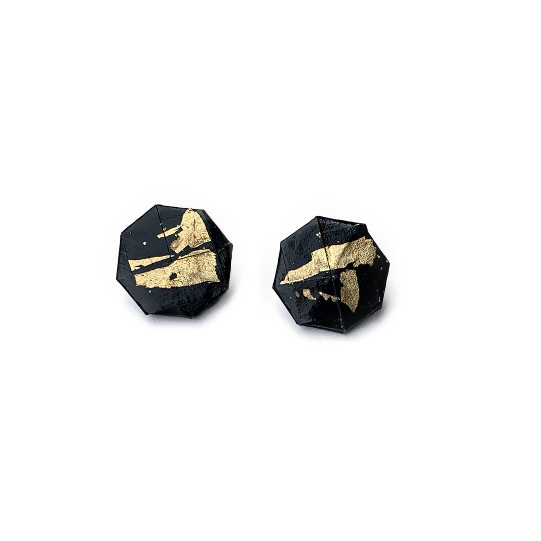 Moneta Earrings in Black and Gold Leaf