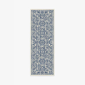 Blue Traditional Floral Rugs Runners for Living Room Bedroom Hall Office Machine Washable