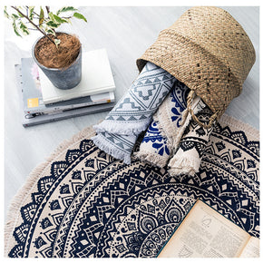Round Cotton Area Rug with Tassel Hand Woven Machine Washable Floor Carpet Rug for Living Room Bedroom 90cm 01-03