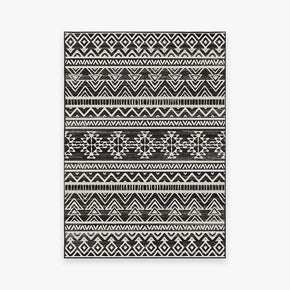 Modern Black Geometric Rugs for Living Room Bedroom Hall Office Machine Washable