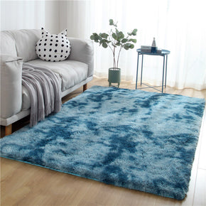 Gradient Dark Blue Colour Modern Plain Carpet Bedroom Living Room Sofa Rugs Soft Plush Shaggy Rugs