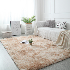 Gradient Beige Colour Modern Plain Carpet Bedroom Living Room Sofa Rugs Soft Plush Shaggy Rugs