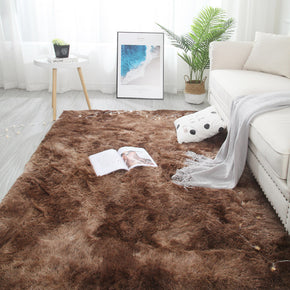 Gradient Brown Colour Modern Plain Carpet Bedroom Living Room Sofa Rugs Soft Plush Shaggy Rugs