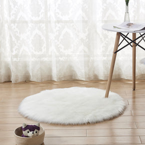 80*80cm White Round Faux Sheepskin Fur Area Grey Shaggy Plush Rugs