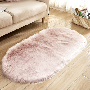 Pink Oval Shaped Shaggy Super Soft Faux Sheepskin Fur Plush Rugs For Living Room Hall Bedroom Bedside