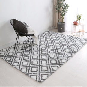 Grey Soft Comfortable Geometric Plush Shaggy Rugs Bedroom Living Room Bedside Rug Floor Mat 01